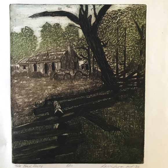 Etching: Cabin in the woods landscape